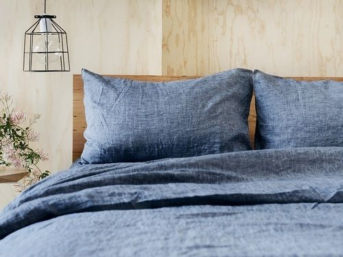 100% pure linen in Deep Chambray