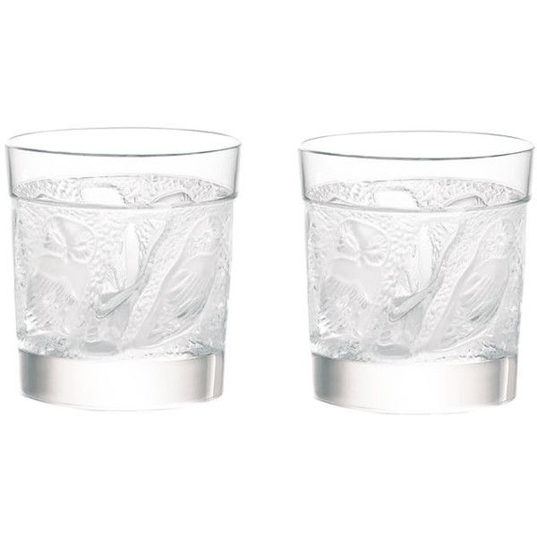 Lalique Owl Whisky Tumblers - Set of 2 ($730) ❤ liked on Polyvore featuring home, kitchen & dining, drinkware, fillers, drinks, food, other, accessories, whiskey tumbler and lalique