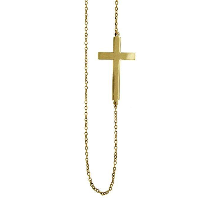 Ασημένιο κολιέ με σταυρό AK-0922G #joy #style #fashion