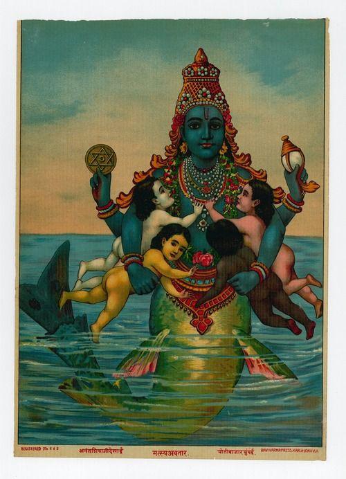 Matsya, one of the Avatars of Vishnu - I love this image.