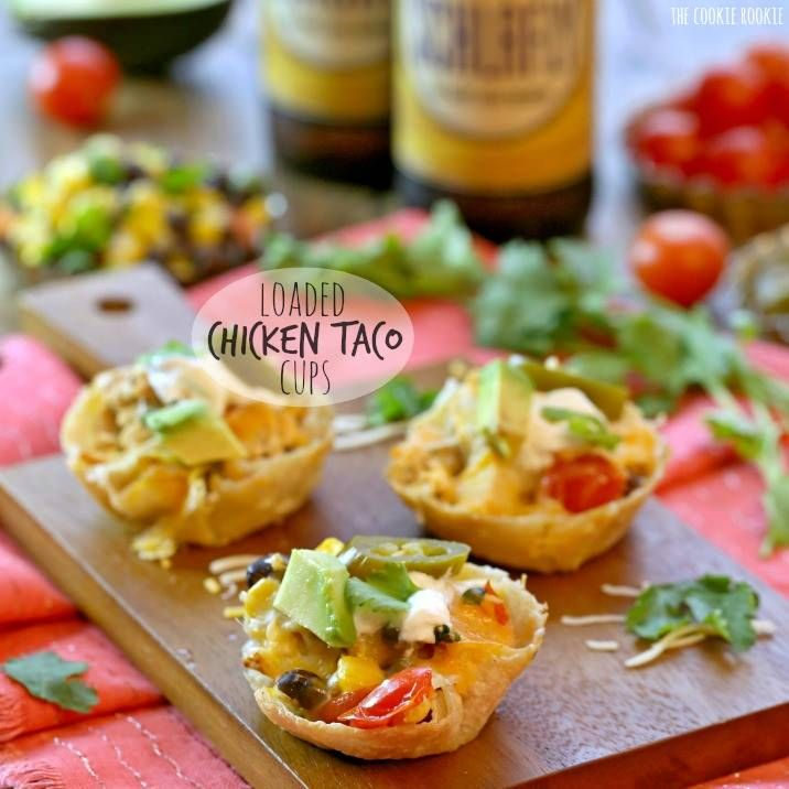 Loaded Chicken Taco Cups are the perfect appetizer for gameday! Tortillas baked into bitesized cups filled with everything for loaded chicken tacos. Superbowl appetizer march madness appetizer.