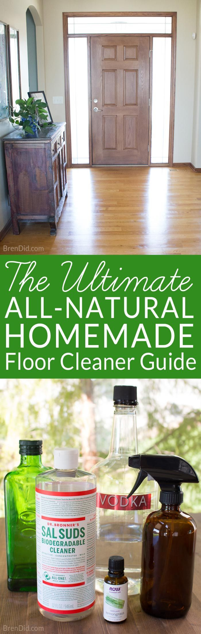 Cleaning floors can be a chore. Keep your hard surfaces in tip, top shape with this guide to natural floor cleaning and homemade floor cleaner recipe. It's the Ultimate All-Natural Homemade Floor Cleaner Guide!