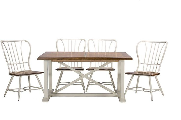 Longford Wood White Metal Vintage Industrial 7-Piece Dining Set