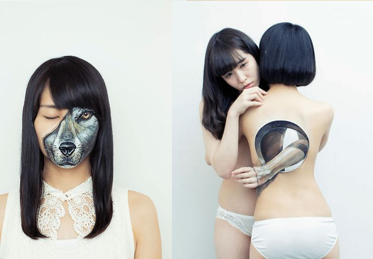 Realistické kresby na tele, vytvárajú na človeku optické ilúzie
