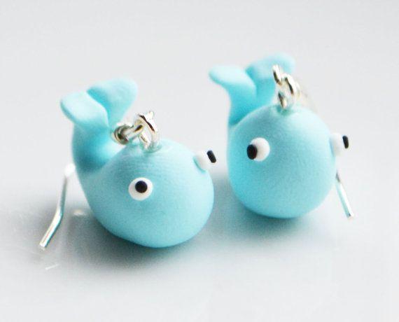 Whale Earrings Fimo Polymer clay by SweetnNeatJewellery on Etsy