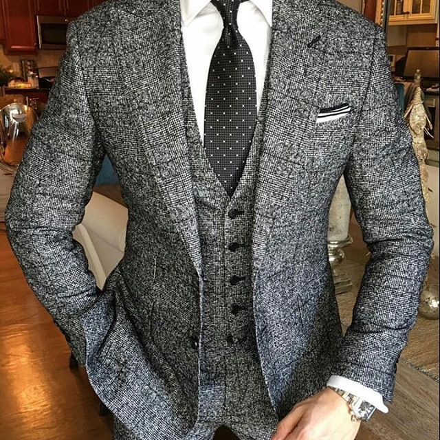 Grey tweed Suit #menssuitsstylish white shirt black tie; bespoke 3 piece suit; groom; groomsmen suit
