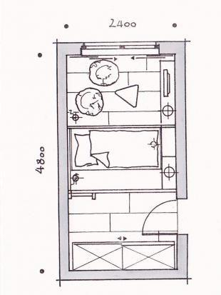 Podest mit auziehbarem Bett....Bett im Arbeitszimmer aber eher der Länge nach ausziehen, sonst wäre Bett nur 1,40m lang