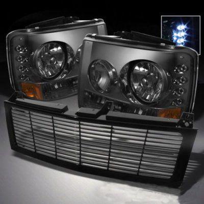 2000 Chevy Silverado Black Grille and Smoked Headlight Conversion Kit