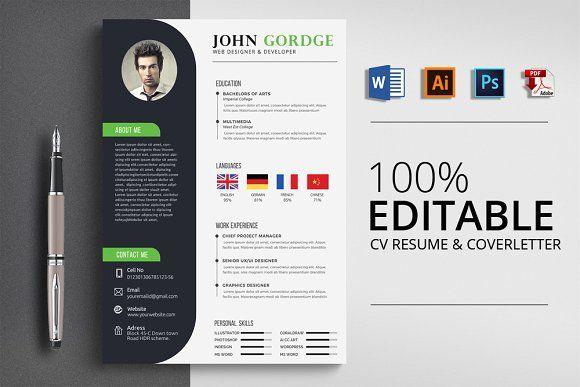 Minimalist Cv Resume Word Resume Words Resume Design Template