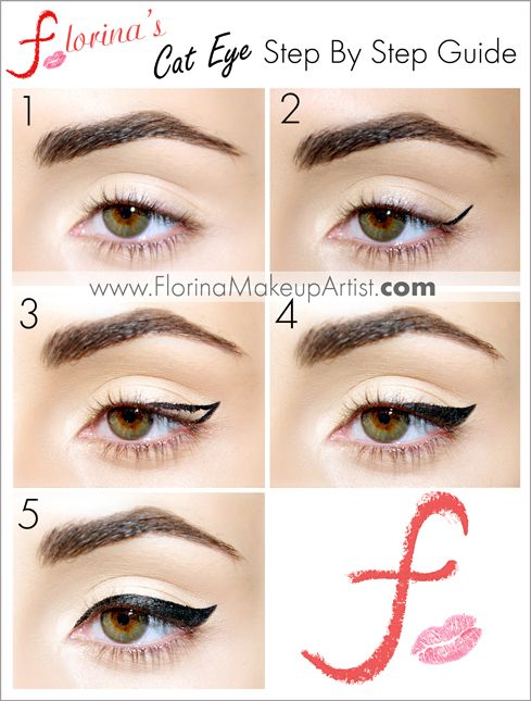 Winged eyeliner tutorial www.florinamakeupartist.com Cat eyeliner gel liner tutorial how to quick eyeliner