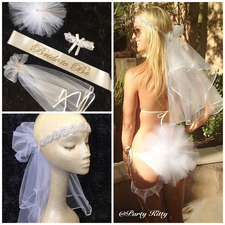 Bachelorette Party Veil & Booty Poof Set. Perfect for Vegas bachelorette pool party