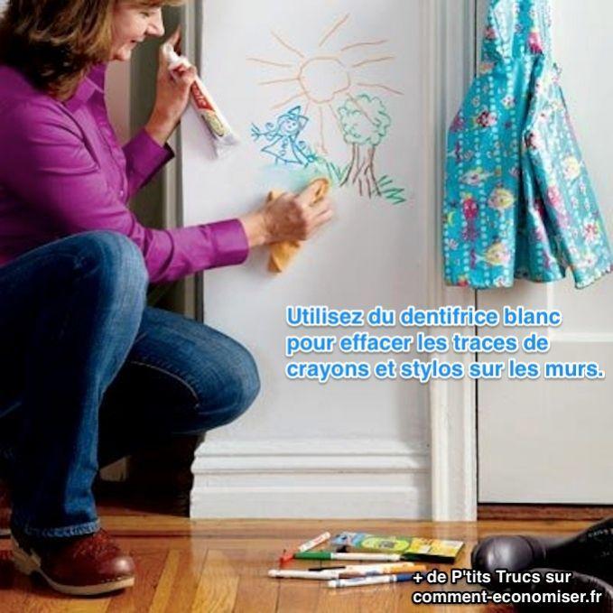Vos enfants ont dessiné sur les murs de votre appartement ? Vous voulez effacer les traces de crayon, de stylo bille ou de feutre mais ne savez pas comment faire ? Voici l'astuce efficace pour enlever toutes ces traces en 1 clin d'oeil.  Découvrez l'astuce ici : http://www.comment-economiser.fr/effacer-dessins-mur.html?utm_content=buffer007f0&utm_medium=social&utm_source=pinterest.com&utm_campaign=buffer