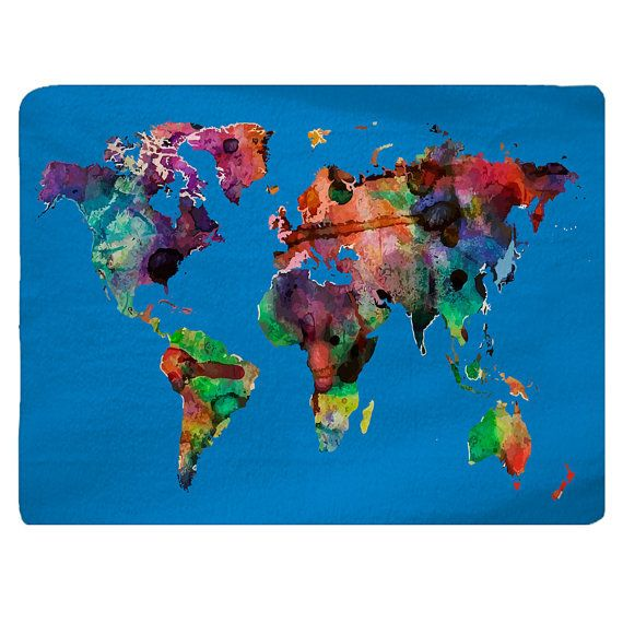 """Water Colors World Map Plush Fuzzy Area Rug Mediterannean Blue - Size  48x30, 96x44. 96x60""""   inches  -Other Color Selections available"""