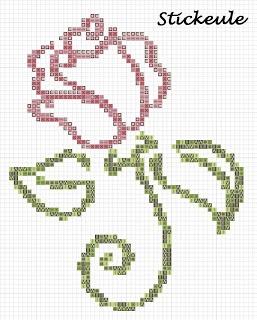 Stickeules Freebies - Simple rose cross stitch pattern