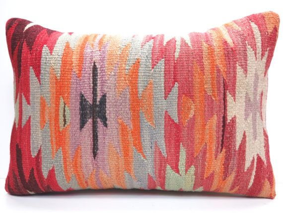 "NOMADIC Bohemian Home Decor,Handwoven Turkish Kilim Lumbar Pillow Cover 20"" X 14"",Decorative Kilim Pillow,Lumbar Kilim Pillow,Throw Pillow"