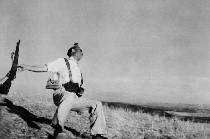 Robert Capa: 1936   On the Cordoba front during the Spanish Civil War, a Loyalist fighter is killed in action in September 1936. Originally published in the July 12, 1937, issue of LIFE.