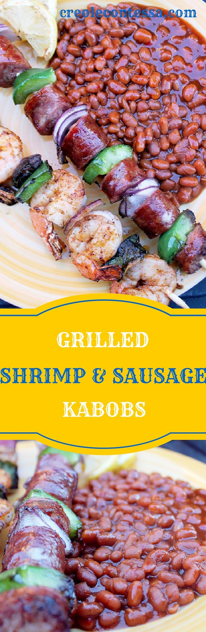 Grilled Shrimp and Andouille Sausage Kabobs-Creole Contessa #ad #bushsbeans #sheknows