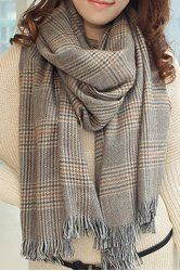 Chic Plaid Tassel Decorated Scarf For Women