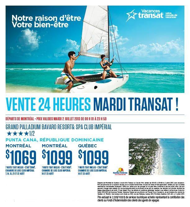 Mardi Transat - Spécial d'un Jour (Hotel 4.5 ****1/2 étoiles à super bon prix)! / Transat Tuesday - 1 Day Sale (Low priced 4.5 ****1/2 star hotel)!