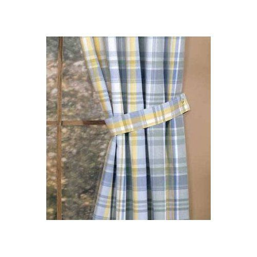 Blue And Yellow Kitchen Curtains: Blue Yellow Veranda PLAID Tie Back Window CURTAIN Decor