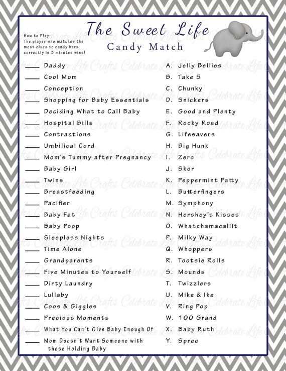 baby shower games printable with answers - Google Search
