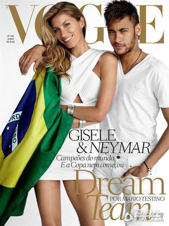 吉賽爾世界盃開賽前還與內馬合作登上巴西版Vogue封面。(圖/騰訊體育)