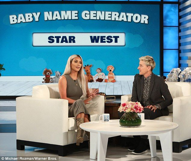 Nope: Ellen offered the use of her random baby name generator, which suggested Lip Kit-West, Pop West, and West West