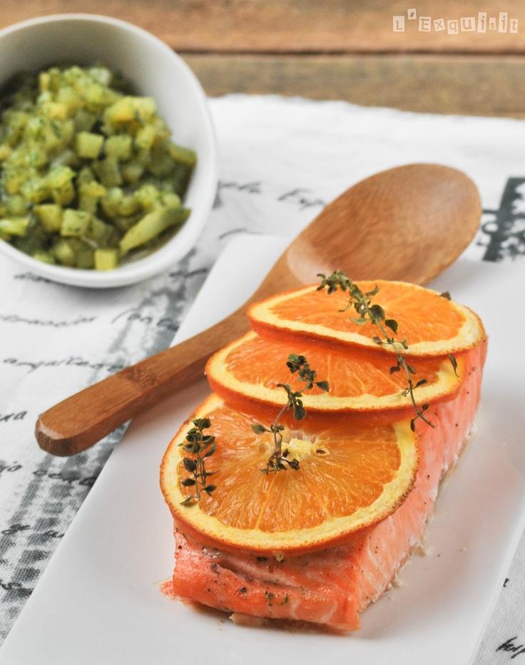 Salmón a la naranja con patatas a las hierbas   L'Exquisit