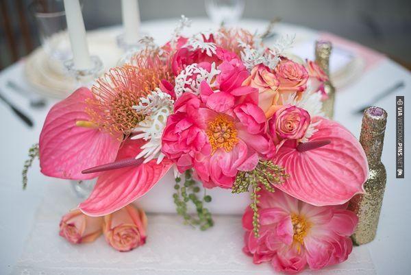 fuschia floral centerpieces   CHECK OUT MORE IDEAS AT WEDDINGPINS.NET   #wedding