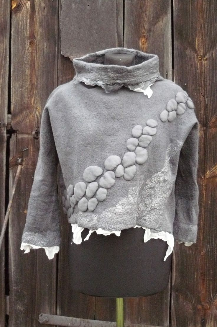 handfelted blouse in gray....