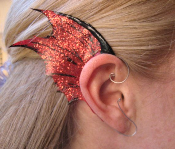 Red Black ear wings dark fairy or dragon fin by WhimsicalPixies, $30.00
