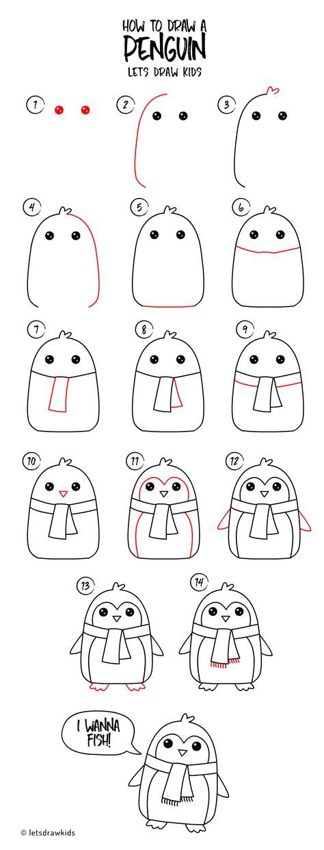 How to draw a Penguin. Easy drawing, step by step, perfect for kids! Let's d…