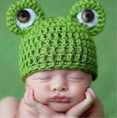 Lindo Bebé Infante Bebé Niña Niño hecho a mano de ganchillo Tejido de rana Sombrero fotografía Prop