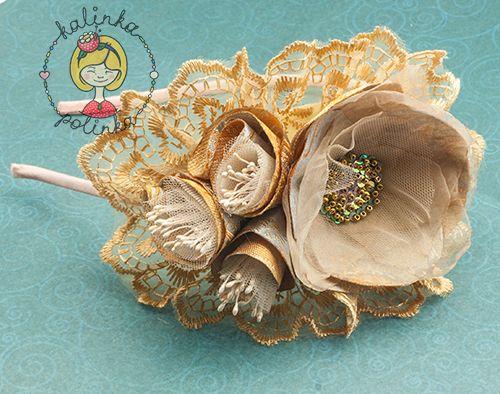 Ободок своими руками мастер-класс пошаговый с цветами из органзы.