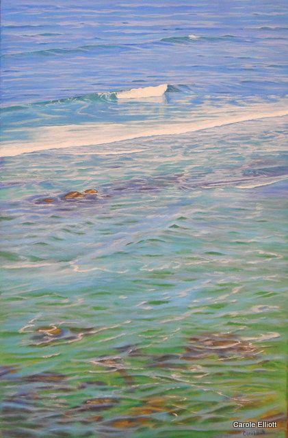 "SOLD - ""Perfect Day - Bar Beach, Newcastle"" Acrylic on deep-sided stretched canvas by Carole Elliott  #art #australianart #acrylic #carolelliott7 #seascape #newcastle #beach #ocean"