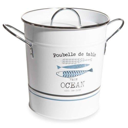 Contenitore per rifiuti da tavola in metallo bianco e blu OCEAN