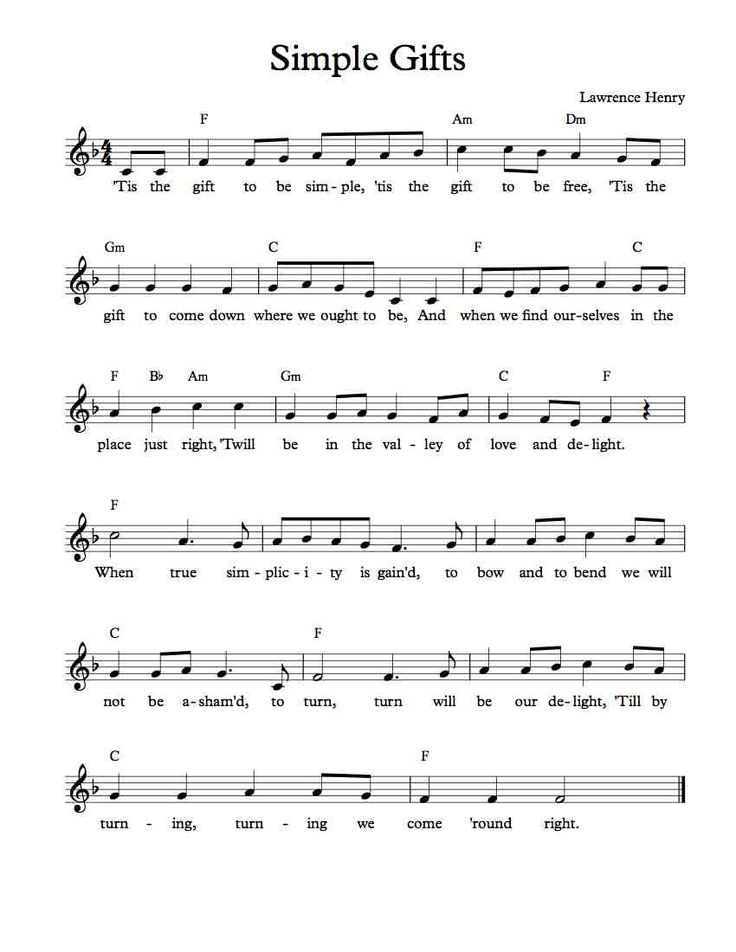 Free Lead Sheet - Free Sheet Music - Simple Gifts