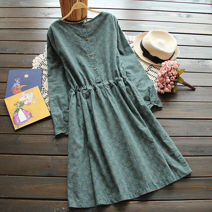 Vintage Print Slim Lace Long-sleeve O-neck One-piece Dress
