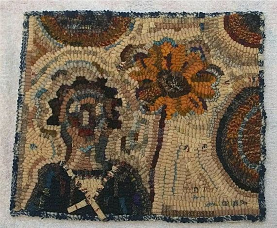 Hand Hooked Rug Old Primitive Doll U0026 Sunflower