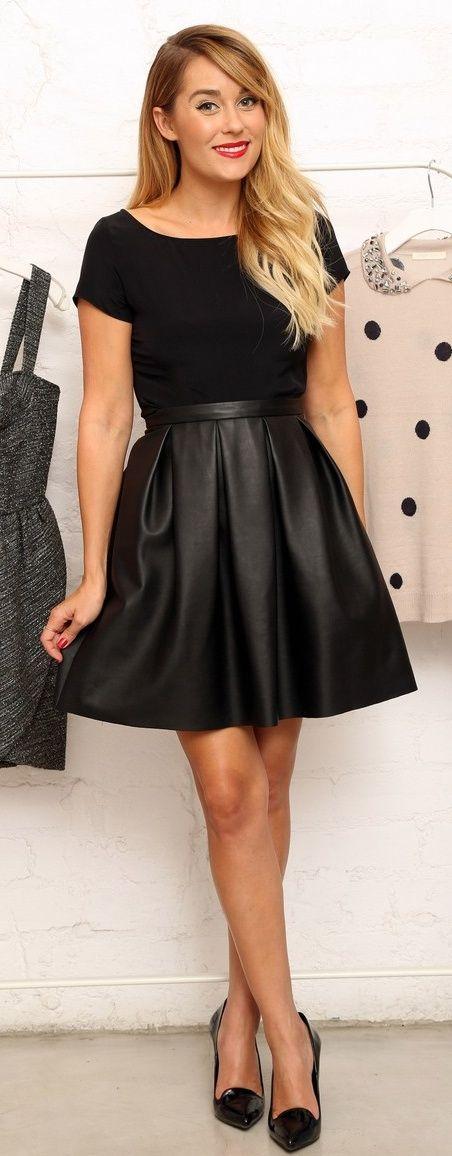 impressive black leather skater skirt outfit boots