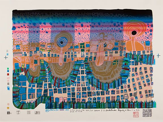 "Hundertwasser, ""Town in Town"" 1979. Silkscreen in 13 colors with metal imprints in 3 colors. Ed. of 350."