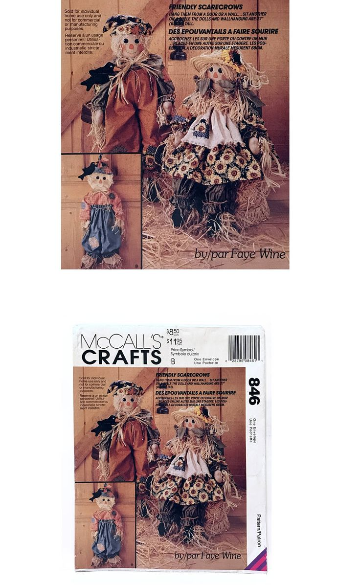Vintage McCall's Crafts Sewing Pattern 846 Stuffed Scarecrow Dolls Black Bird Autumn Decor Fall Harvest Halloween DIY Faye Wine Dated 1993 by UpstairsAttic on Etsy