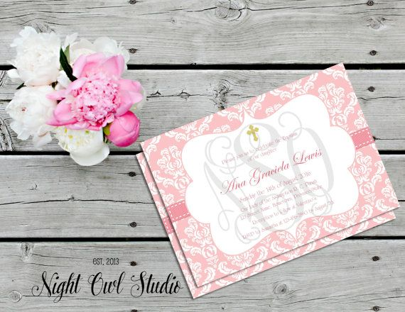 Baptism Invitation-Girl Baptism-First Holy by NightOwlStudioDesign