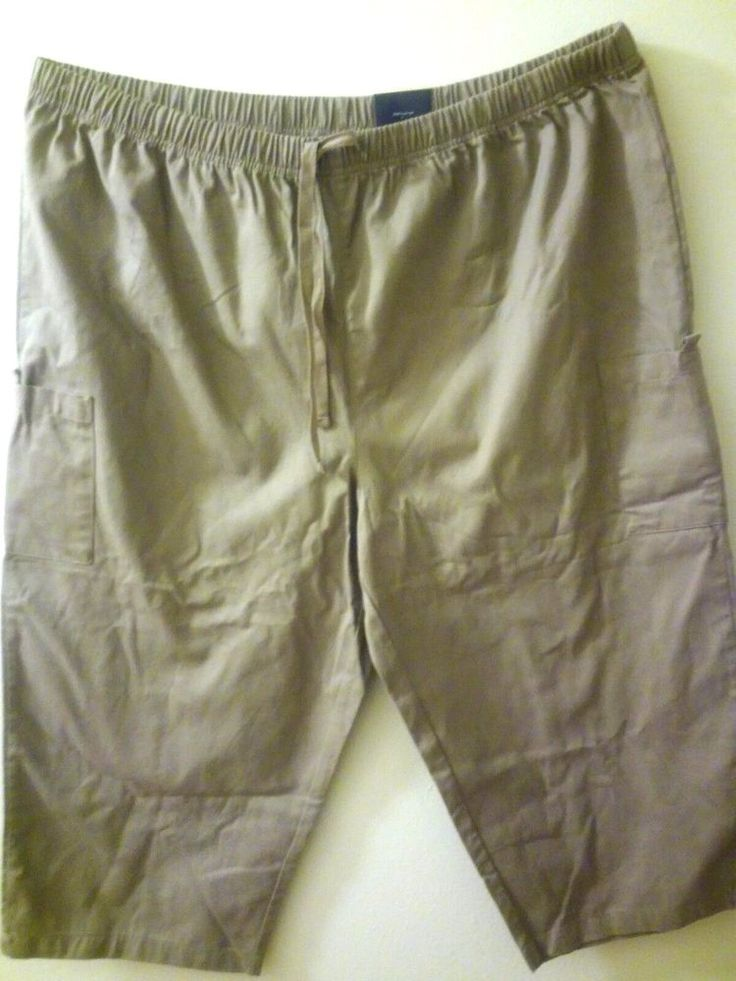 3X Women's Plus Capri Cargo Pants  Khaki, Elastic waist Cotton  #BasicEditions #RELAXEDFIXCapriCropped