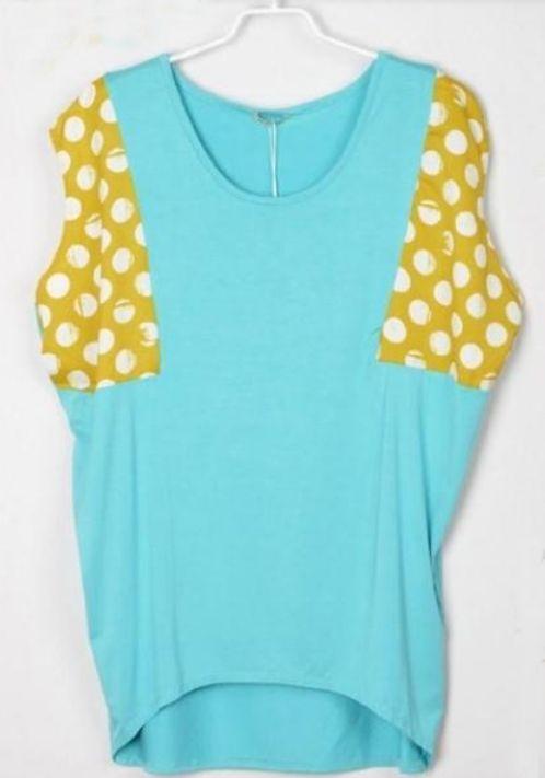 Polka Dot Printed Yellow and Grenn Batwing T-Shirt