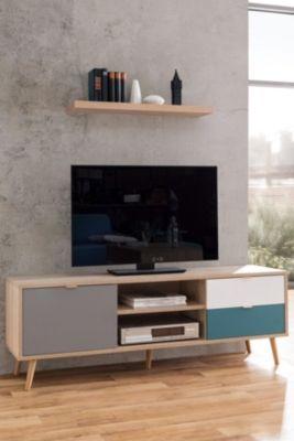 Meuble Tv Scandinave Aruba Chene Gris Bleu Et Blanc En 2019 Loc