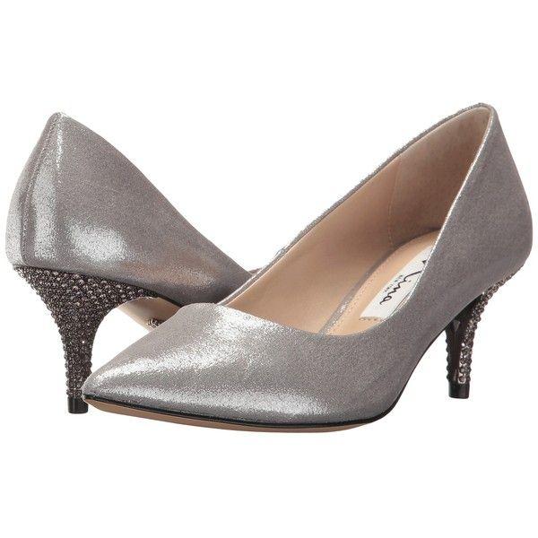 Nina Tiara (Dark Silver) Women's 1-2 inch heel Shoes ($99) ❤ liked on Polyvore featuring shoes, pumps, silver slip on shoes, silver pointed toe pumps, silver kitten heel pumps, kitten heel shoes and evening shoes