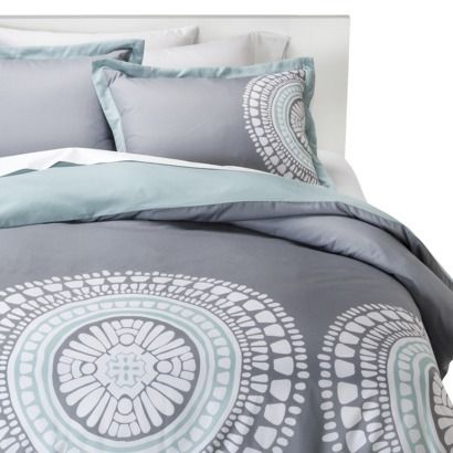 Room Essentials® Medallion Duvet Cover Set (Mint and grey)