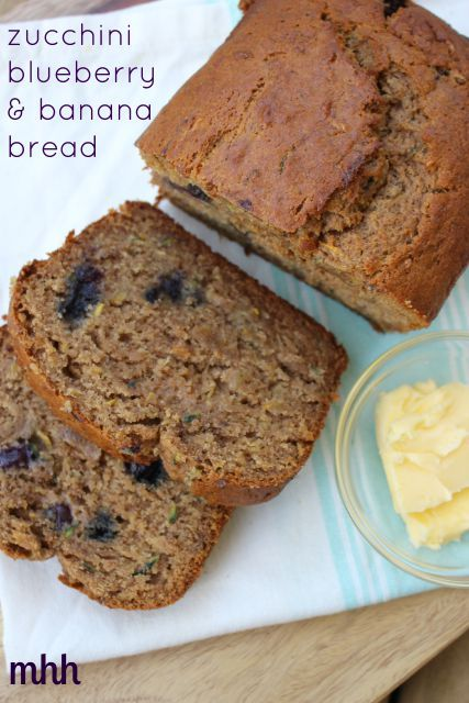 This real food zucchini, blueberry and banana bread recipe is so moist and delicious! Made with sprouted spelt flour and packed with nutrients!