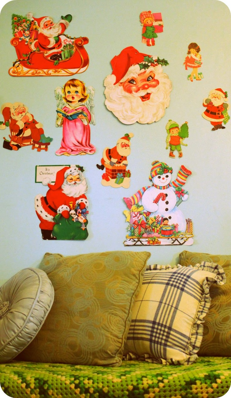 Vintage Christmas Cards, Remember When They Made The Cardboard Cutouts To  Stick To Tape To The Walls?
